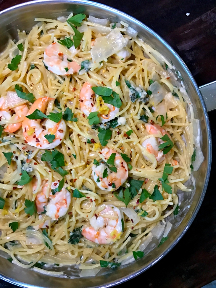 One Pan Garlic Parmesan Shrimp Spaghetti