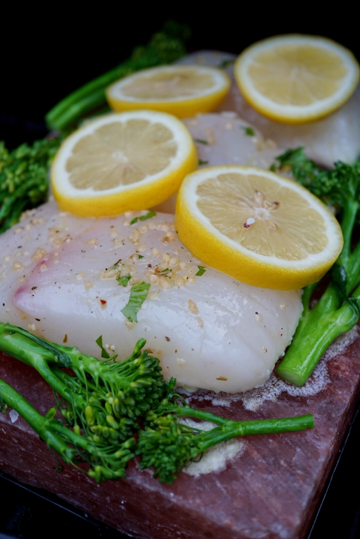 Halibut grilled on a himalayan salt block with broccolini for Cooking fish on a salt block