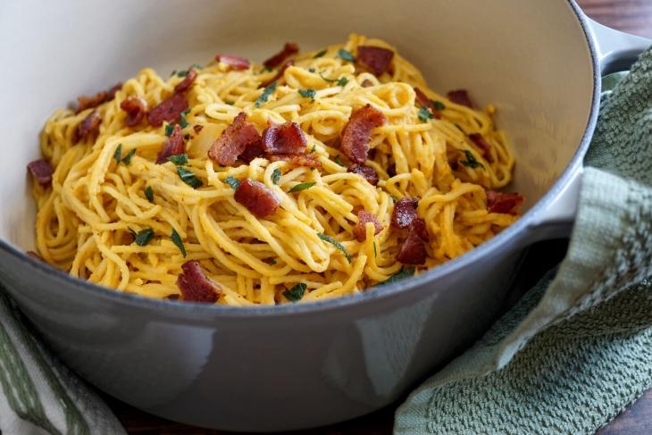 Pumpkin Pasta With Bacon Crispy Sage